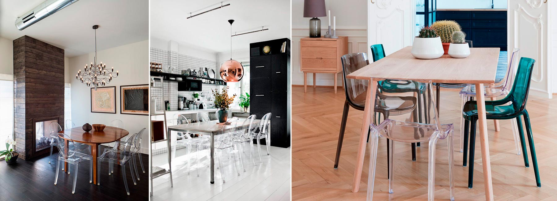 Прозрачные стулья в интерьере – 50+ примеров с фото