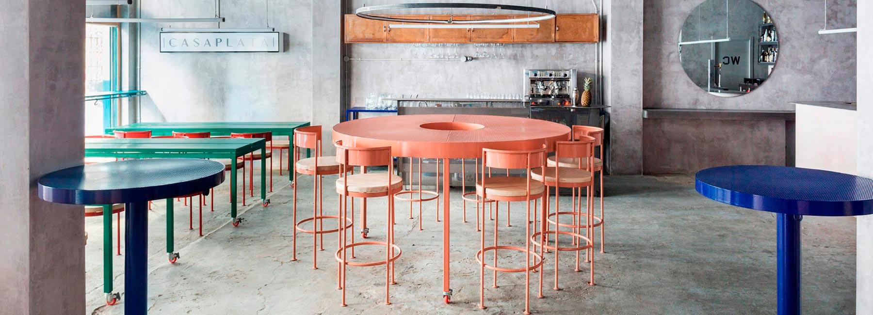 Бетон, пастельные цвета и круги – ресторан Casaplata в центре Севильи