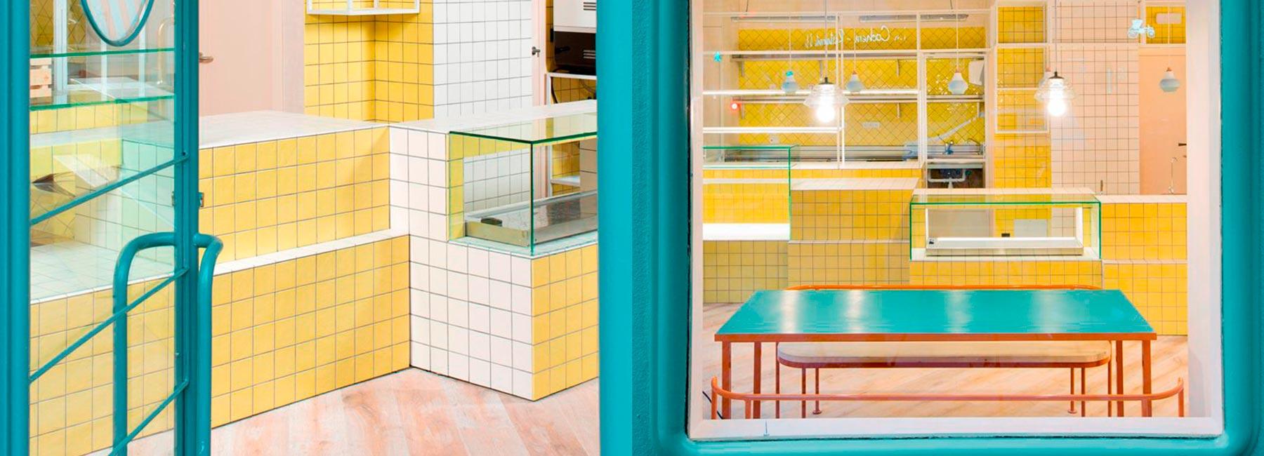 Дизайн интерьера кафе в лимонных оттенках Juana Limón в Мадриде