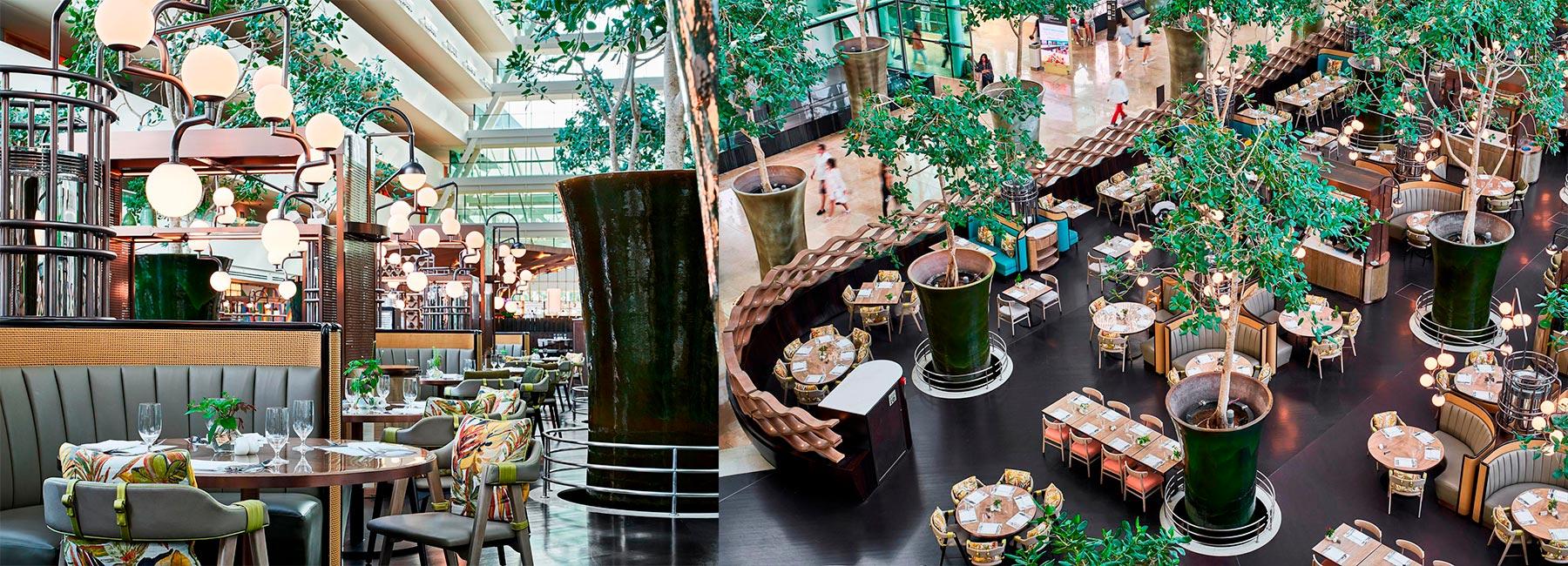 Дизайн интерьера ресторана в атриуме отеля Marina Bay Sands, Сингапур