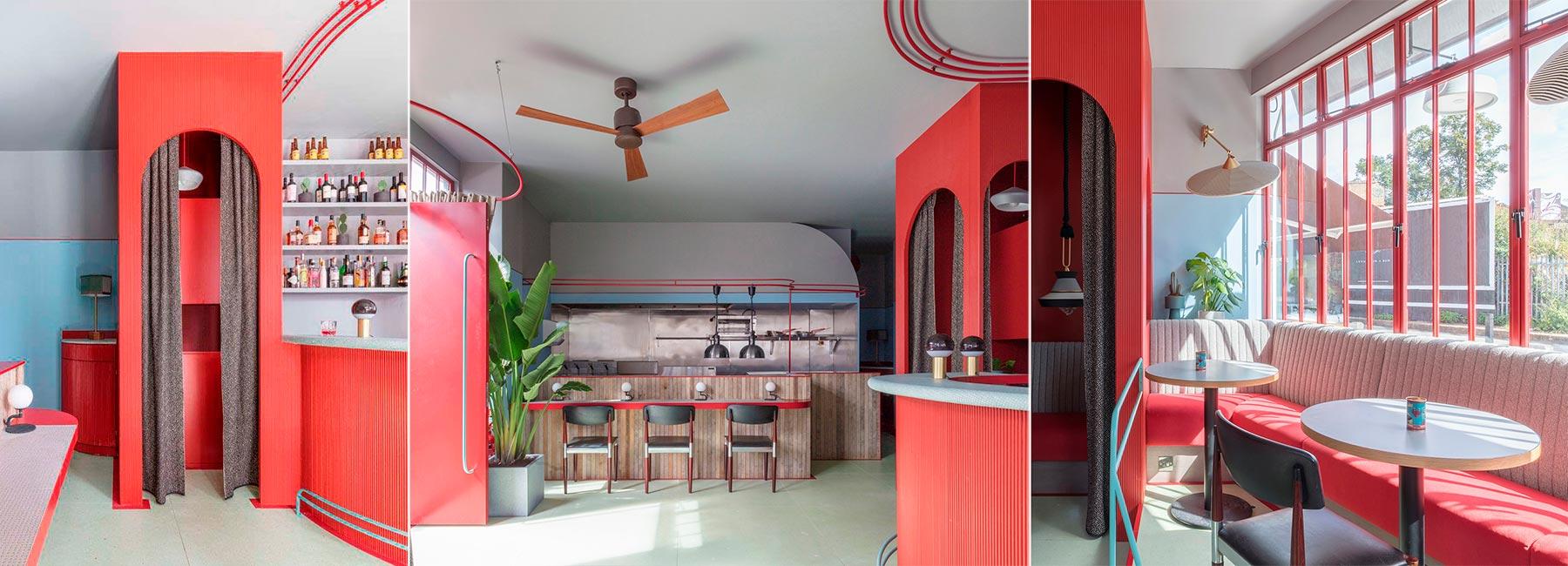 Дизайн интерьера The Piraña Bar and Restaurant в Лондоне в красных тонах
