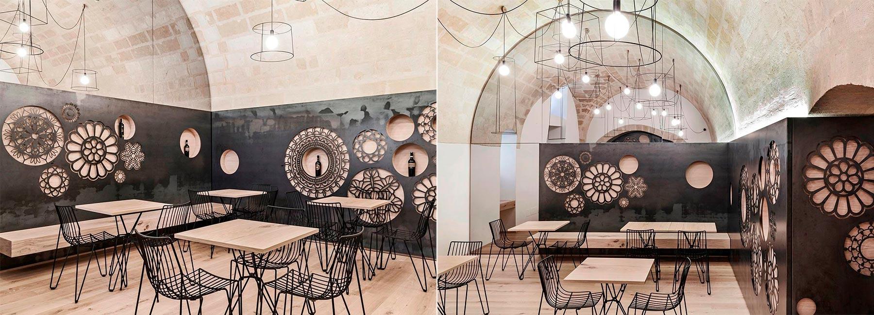 Дуб и металл – всего 2-а материала использованы в дизайне этого кафе