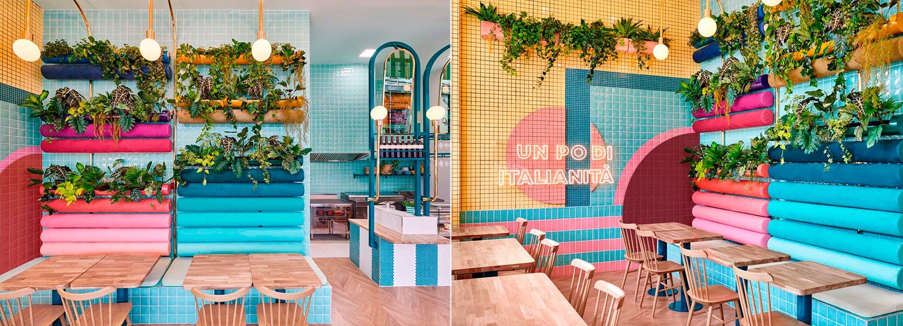 Яркий дизайн интерьера кафе Piada в Лионе
