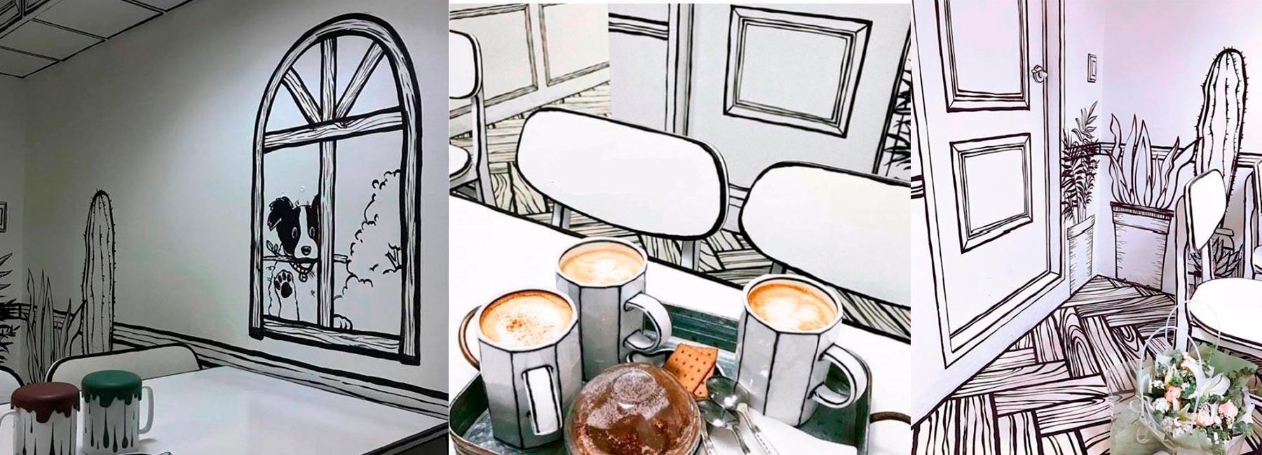 Необычное кафе с нарисованным интерьером Chuseok Holidays в Южной Корее