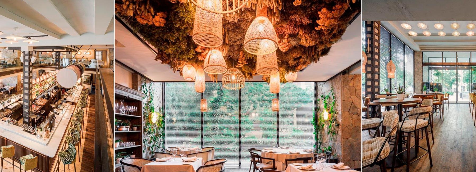 Дизайн интерьера ресторана Carbon Negro с необычным потолком